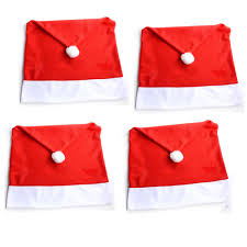 Santa Chair Covers 4pcs Set Christmas Decorative Chair Cover Xmas Dining Cloth Chairs