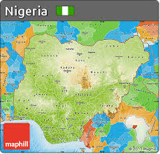 nigeria physical map free physical map of nigeria political outside shaded relief sea