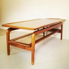 scandinavian coffee table with rattan shelf for sale at pamono