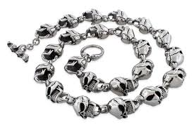 necklace skull images Steel cracked head skull necklace 24 inches jpg