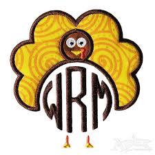 turkey thanksgiving applique frame embroidery design