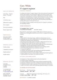 Central Service Technician Resume Sample by Incredible It Support Engineer Cv Sample With It Support Resume