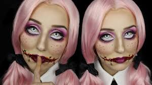 creepy doll with stitched mouth halloween makeup tutorial youtube