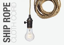Cloth Cord Pendant Light Crafted Nautical Ship Rope Cloth Cord Bronze Bare Bulb