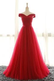 length off shoulder sleeves red bridesmaid dresses