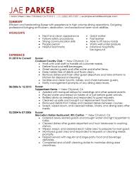 Bartender Resume No Experience Template Busser Resume Sample Resume Cv Cover Letter