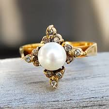 gold pearl rings images Vintage gold pearl ring with diamond detail gold west vintage JPG