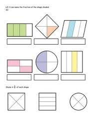fractions in first grade cut and paste fraction shapes fun