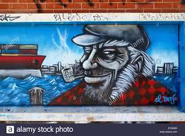 graffiti wall mural of a sailor smoking a pipe fremantle western stock photo graffiti wall mural of a sailor smoking a pipe fremantle western australia