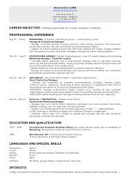 Resume Jobs Objective by 100 Objective Resume Samples Create My Resume 165 Regional