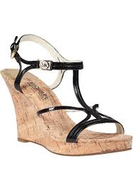 lyst michael michael kors cicely wedge sandal black patent in black