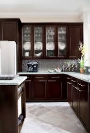 Wall Hung Kitchen Cabinets by Cute L Shape Espresso Kitchen Cabinets Come With Double Door