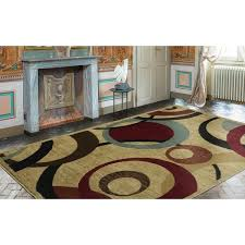 8 X 9 Area Rugs Ottomanson Royal Collection Beige Contemporary Abstract Circle