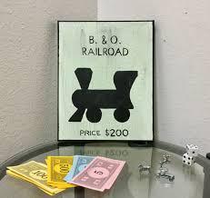 monopoly room decor board game art railroad property b u0026 o