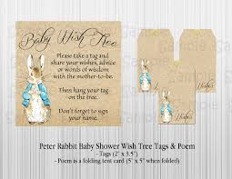 wishing tree cards rabbit baby shower wish tree tags and poem with satin