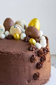 chocolate covered eggs vanilla cake with chocolate orange cheese frosting