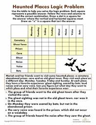haunted places logic problem haunted places worksheets and
