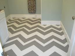 modern stylish striped taper painted cement floors in basement