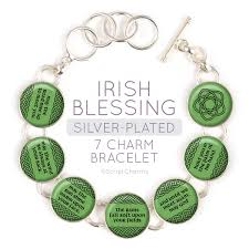 silver plated charm bracelet images Irish blessing charm bracelet with celtic rose clover jpg