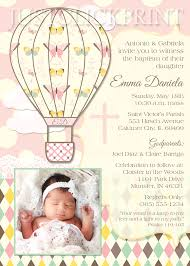 Baptismal Invitation Card Design Air Balloons Christening Baptism Dedication Invitation