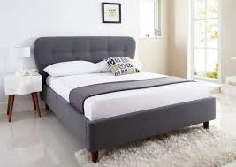 Fabric King Headboard White Leather Padded Bed Frame With High Tufted Headboard On