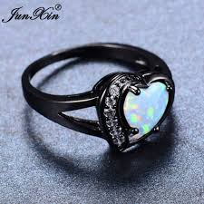 white fire rings images Junxin women white fire opal heart ring with aaa zircon black gold jpg