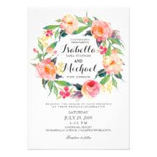 floral wreath wedding invitations announcements zazzle