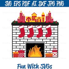 christmas fireplace svg christmas ornaments christmas stocking