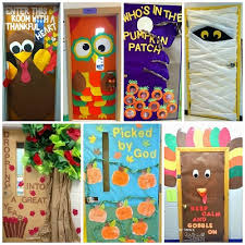 here are a bunch of fall door decorations for the classroom