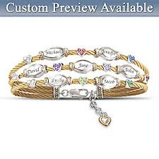 custom birthstone bracelets the strength of family personalized name engraved and birthstone