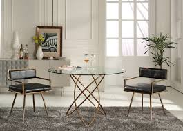 modern round dining room tables modrest rosario modern round rosegold dining table
