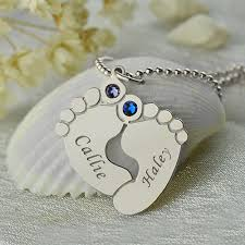 Baby Name Jewelry Baby Feet Name Necklace With Birthstone Silver
