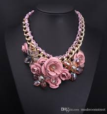 metal flower necklace images Wholesale europe and america fashion brand design gold chain spray jpg
