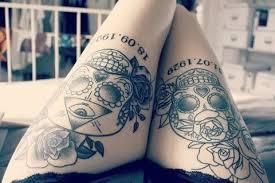 numbers and skull on leg tattoomagz