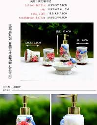 Porcelain Bathroom Accessories Sets Magpie Flowers Ceramic Toothbrush Holder Soap Dish Bathroom