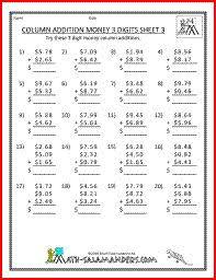 money worksheets for 2nd grade second grade addition worksheets