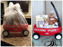 my version of a welcome wagon baby shower gift small wagon