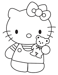 kitty showing teddy bear coloring u0026 coloring pages