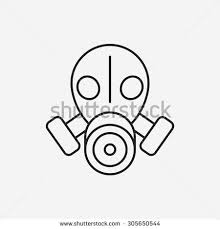 drawn gas mask radioactive pencil and in color drawn gas mask