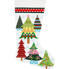needlepoint stocking kit merry christmas trees stitch this easy