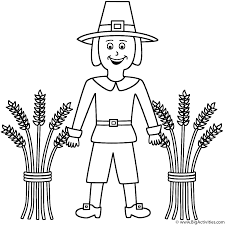 pilgrim with wheat sheaves coloring page thanksgiving