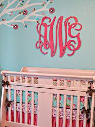 Pink And Aqua Crib Bedding Pink And Aqua Monogram Nursery Project Nursery