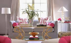 Gray And Pink Living Room Home Decorating Interior Design Bath - Pink living room design