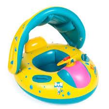 bouée siège bébé gonflable parasol fauteuil jaune pvc sécurité anneau natation