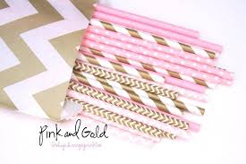 pink and gold baby shower decorations pink and gold party decor pink paper straws pink and gold baby