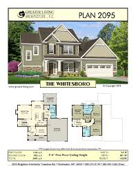 two story home floor plans plan 2095 the whitesboro two story house plan greater living