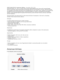American Airlines Route Map Pdf by Swot Analysis On American Airlines American Airlines Airlines