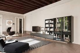 Wohnzimmer Praktisch Einrichten Moderne Wohnwand Mit Glasvitrine Von Livitalia Wohnwand