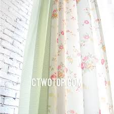 Peach Floral Curtains Beige Striped Floral Country Shabby Chic Splicing Curtains