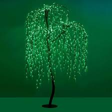 2m weeping willow tree with 810 green cascading led lights